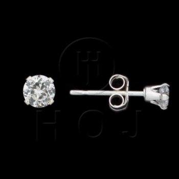 Silver CZ Stud Earrings Round 3mm (ST-1014-3)