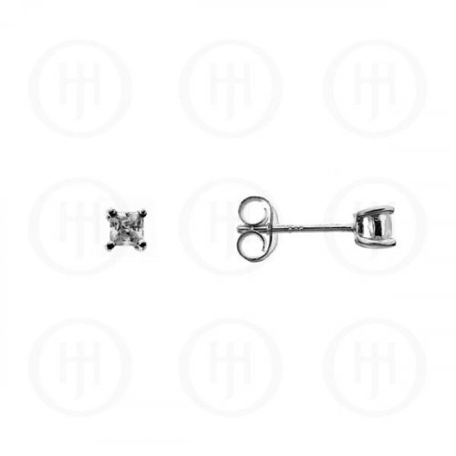 Silver Square Princess Cut CZ Stud Earrings 3 x 3 (ST-1016-3)
