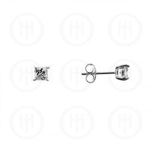 Silver Square Princess Cut CZ Stud Earrings 4 x 4 (ST-1016-4)