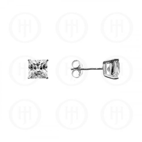 Silver Square Princess Cut CZ Stud Earrings 7 x 7 (ST-1016-7)
