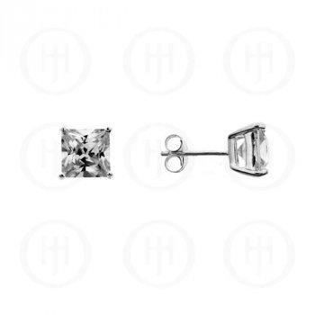 Silver Square Princess Cut CZ Stud Earrings 8 x8 (ST-1016-8)