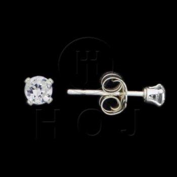 Silver CZ Stud Earrings Round 2.5mm 15-8