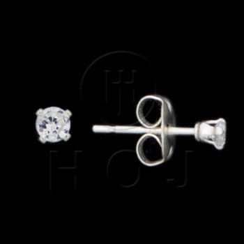 Silver CZ Stud Earrings Round 2mm (ST-1014-2)