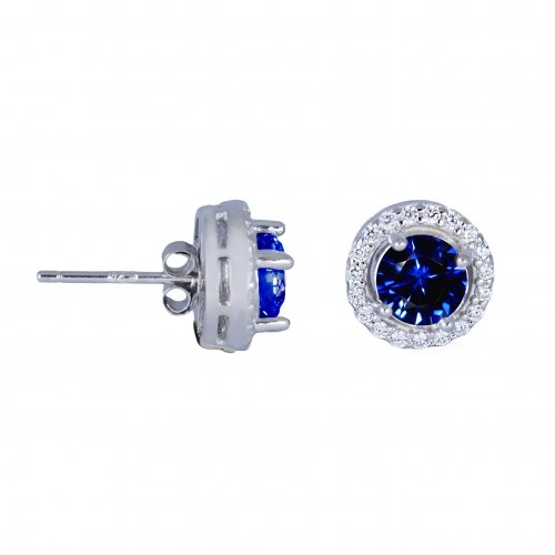 Silver Round CZ Halo Stud Earrings (ST-1058-S)