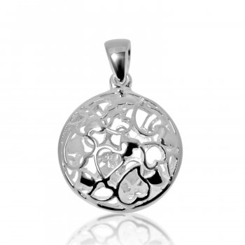 Silver Puffed Hand Carved Round Hearts Pendant (P-1051)