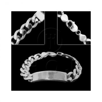 Silver ID Bracelet Curb(ID-GD-350) Men's 13mm 9inch