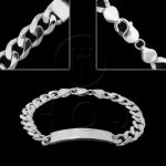 Silver ID Bracelet Curb(ID-GD-300) Men's 10.5mm 9inch