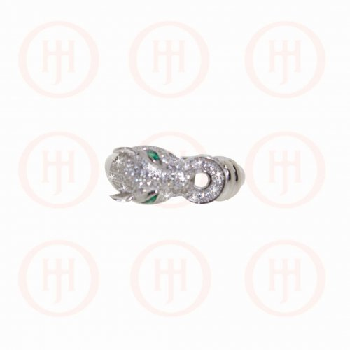 Silver Rhodium Plated CZ Jaguar Ring (R-1264)