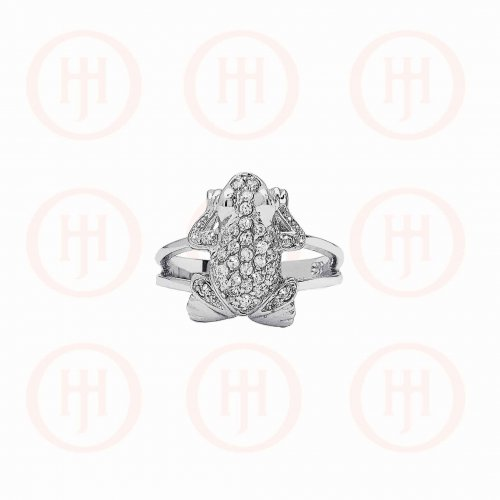 Silver Rhodium Plated Frog CZ Ring (R-1237)
