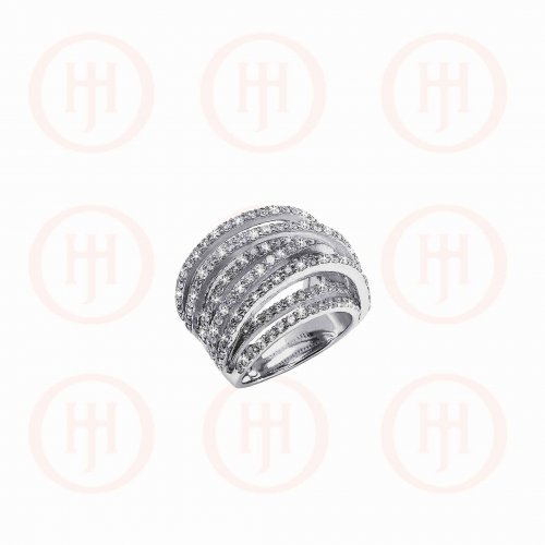 Silver Rhodium Plated Multi Criss Cross CZ Ring (R-1217)