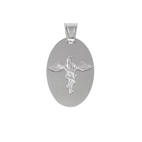 Sterling Silver Engraved Plain Oval Medical Dog Tag (DT-116-MED)