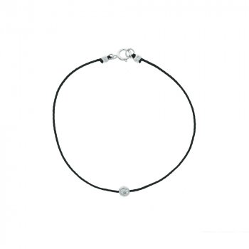 Sterling Silver CZ and Black Cord Bracelet (BR-1204)
