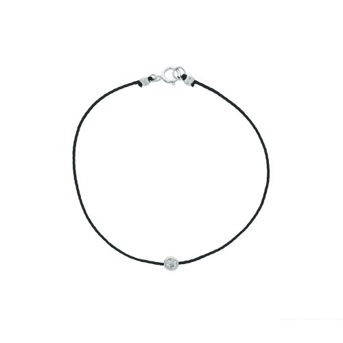 Sterling Silver CZ and Black Cord Bracelet (BR-1024)