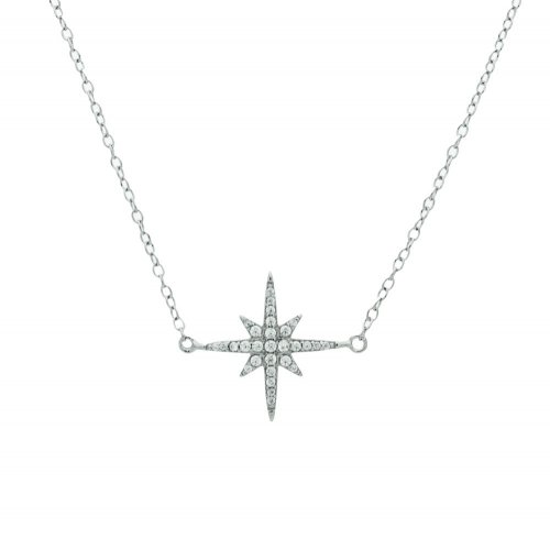 Rhodium Plated Sterling Silver CZ Starburst Bracelet (BR-1203)