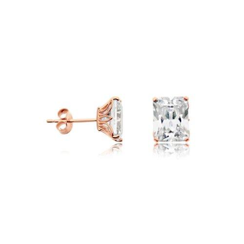 Sterling Silver CZ Baugette Stud Earrings (ST-1197)
