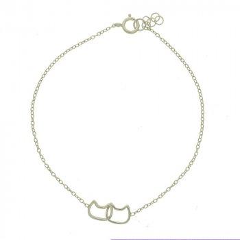 Sterling Silver Plain Interlocked Cat Bracelet (BR-1205)