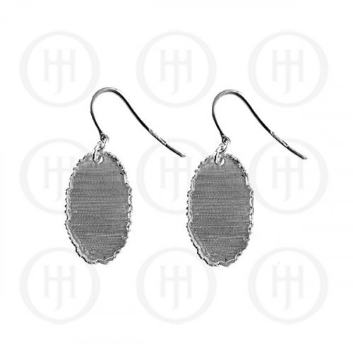 Silver Rhodium Plated Satin Finish Dangle Earrings (ER-1101)
