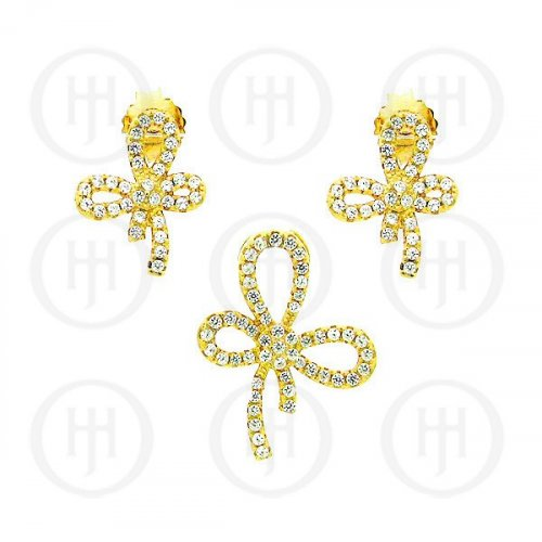 Silver Micro Pave Bow Earrings Pendant Set (PS-1026-Y)