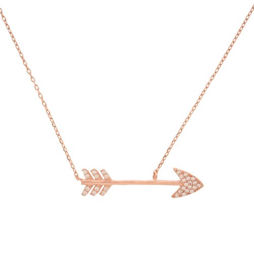 Sterling Silver CZ Rosegold Arrow Necklace (N-1035-R)