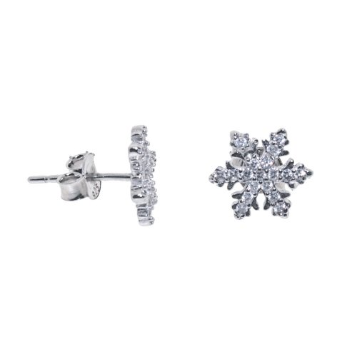 Silver Assorted CZ Snowflake Stud Earrings (ST-1133)