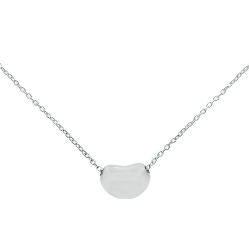 Sterling Silver Plain Bean Necklace (N-1231)