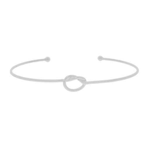 Sterling Silver Plain Knot Bangle (IB-1075)
