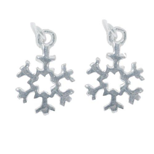 Sterling Silver Snowflake Plain Dangle Earrings (ER-1238)