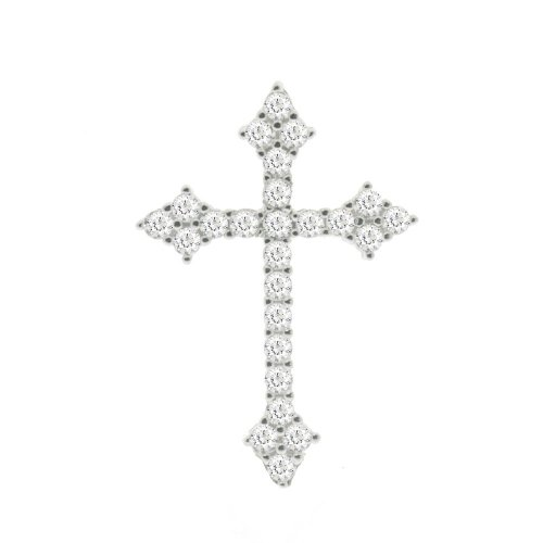 Sterling Silver CZ Pointed End Cross (CR-1370)
