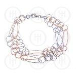 Sterling Silver Fancy Italian Rhodium Plated Triple Strand Bracelet (BR-1044)