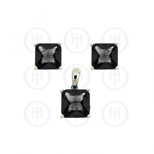 Silver CZ  Square Stud Earrings Set (PS-1010)