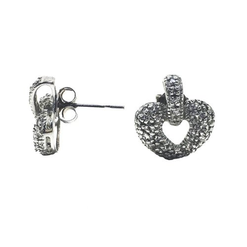 Sterling Silver Plain Textured Heart Studs (ST-1244)