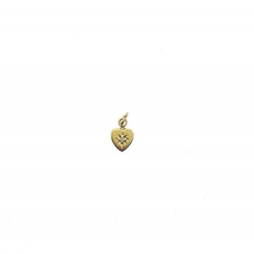 14K Gold Heart Charm With 0.5 Pt Diamond (GCM-1100)