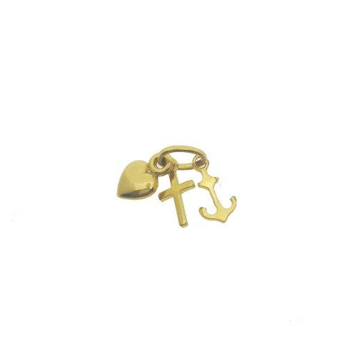 10K Gold Heart, Cross, and Anchor Trinity Charm (GCM-1101)