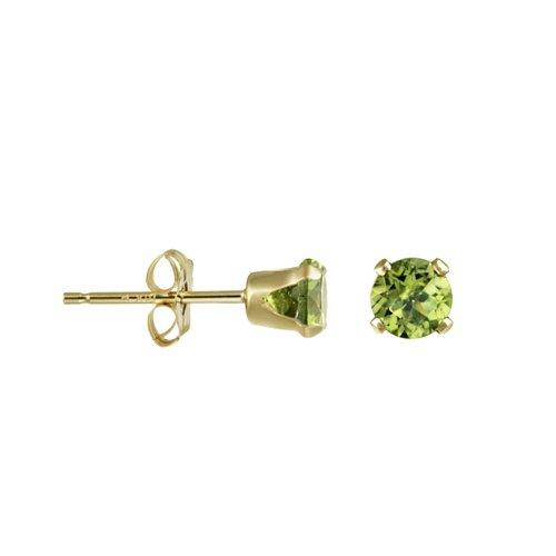 14K Gold Genuine Peridot August Birthstone Stud Earrings 4mm (GE-1102)