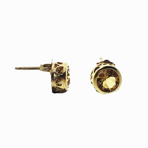 Round Cut Detailed Champagne Studs (GE-1015)