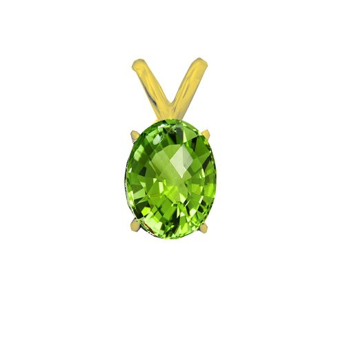 14K Gold Genuine Peridot August Birthstone Pendant Oval 6x4mm (GP-1105)