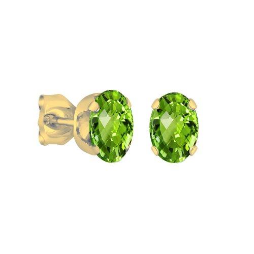 14K Gold Genuine Peridot August Birthstone Earring Studs, Oval 6x4mm (GE-1106)