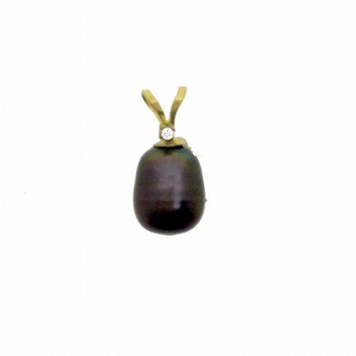 14K Gold Cultured Black Drop Pearl June Birthstone Pendant, With Diamond (GP-1108)