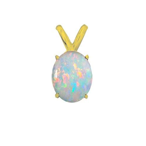 14K Gold White Opal October Birthstone Pendant Oval 6x4mm (GP-1110)