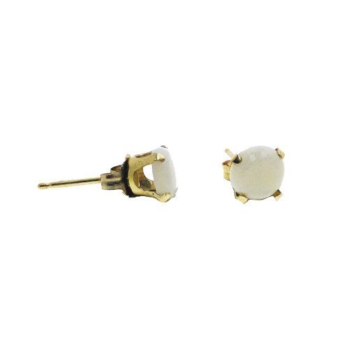 14K Gold White Opal October Birthstone Earring Studs Round 5mm (GE-1111)
