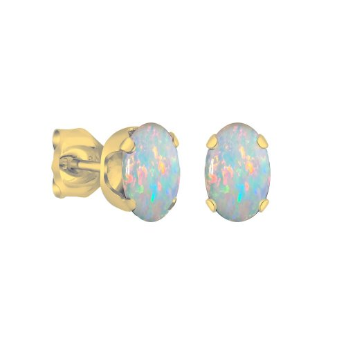 14K Gold White Opal October Birthstone Earring Studs Oval 6x4mm (GE-1112)