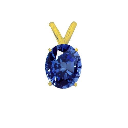 14K Gold Sapphire September Birthstone Pendant Oval 6x4mm (GP-1115)