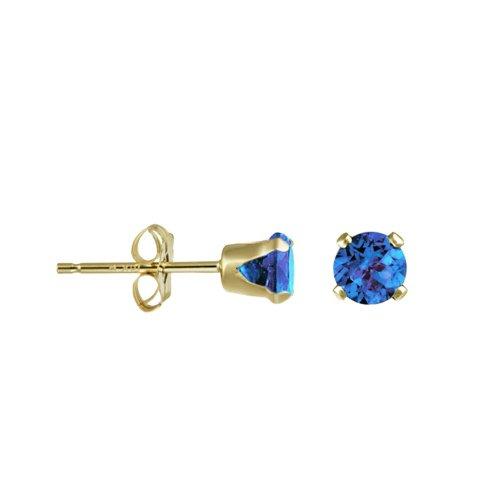 14K Gold Sapphire September Birthstone Stud Earrings Round 3mm (GE-1120)