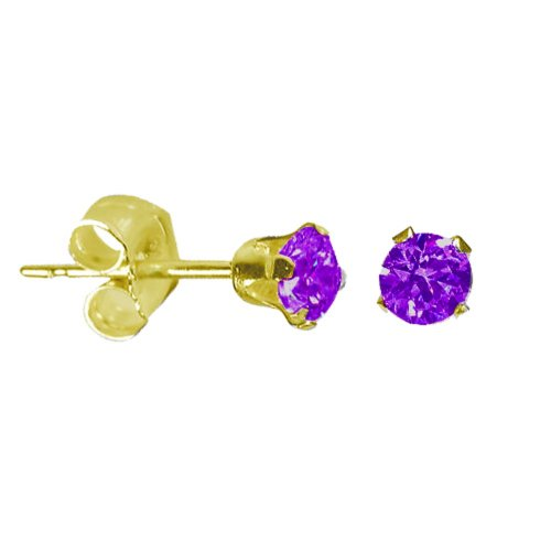 14K Gold Amethyst February Birthstone Stud Earrings Round 4mm (GE-1128)