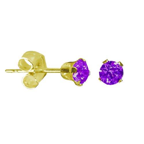 14K Gold Amethyst February Birthstone Stud Earrings Round 3mm (GE-1129)