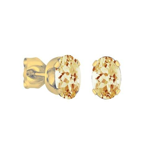 14K Gold Citrine November Birthstone Stud Earrings Oval 6x4mm (GE-1132)