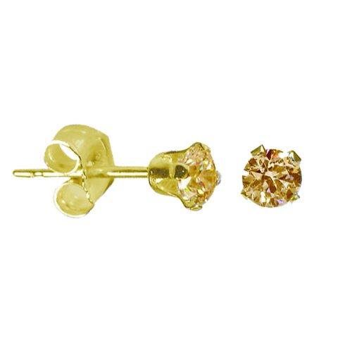 14K Gold Citrine November Birthstone Stud Earrings Round 3mm (GE-1133)