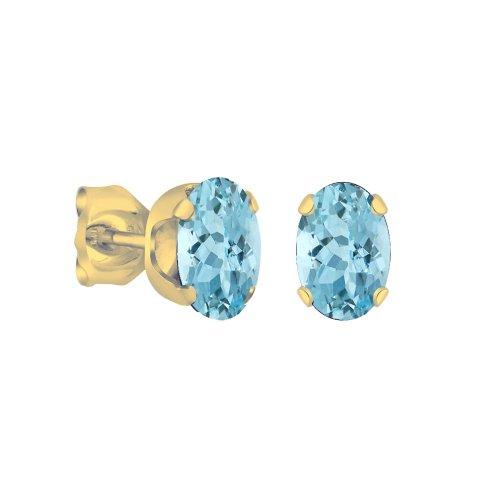 14K Gold Blue Topaz December Birthstone Stud Earrings Oval 6x4mm