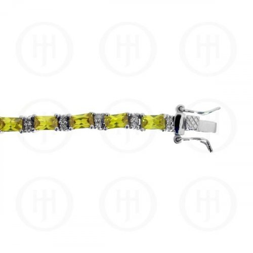 Silver Rhodium Plated Yellow CZ Emerald Cut Tennis Bracelet (BR-CZ-120-O)