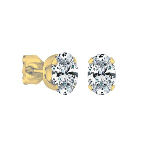 14K Gold White Topaz December Birthstone Stud Earrings Oval 6x4mm (GE-1138)